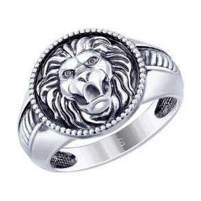 Кольцо из чернёного серебра «Лев» 95010118 SOKOLOV