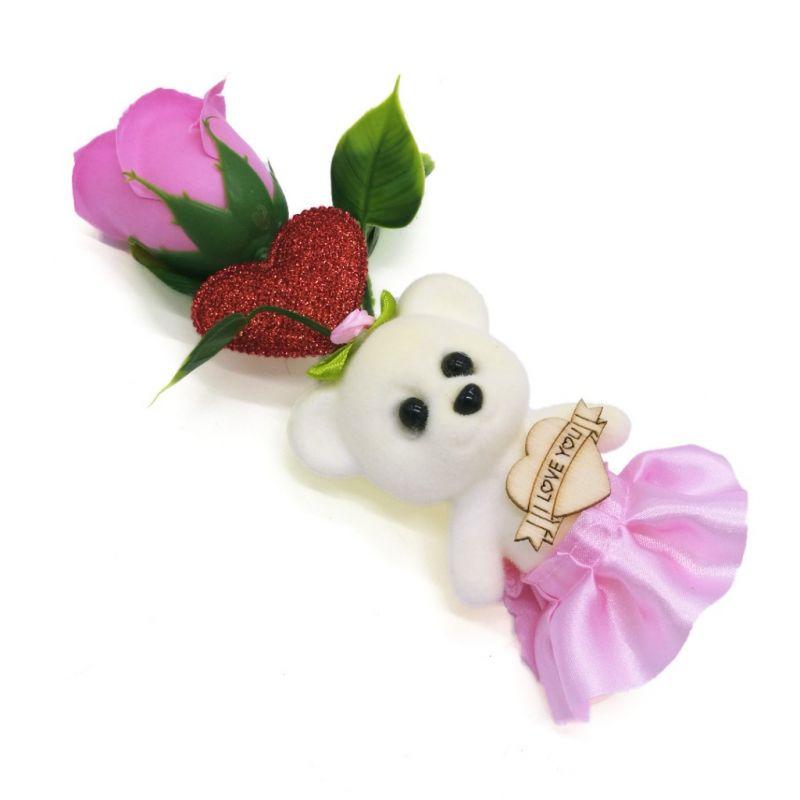 Мыльная роза с мишкой (цвет розовый)