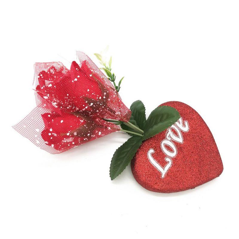 Букет мыльных роз и Сердце (цвет красный)