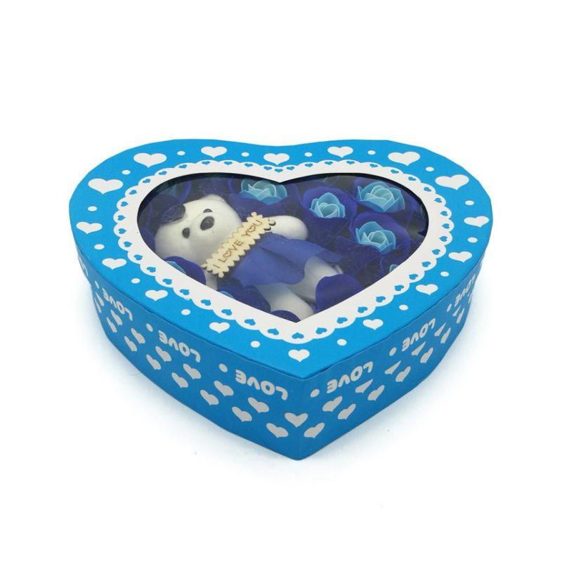 Мыльные розы 18 шт в коробке с мишкой (цвет голубой)