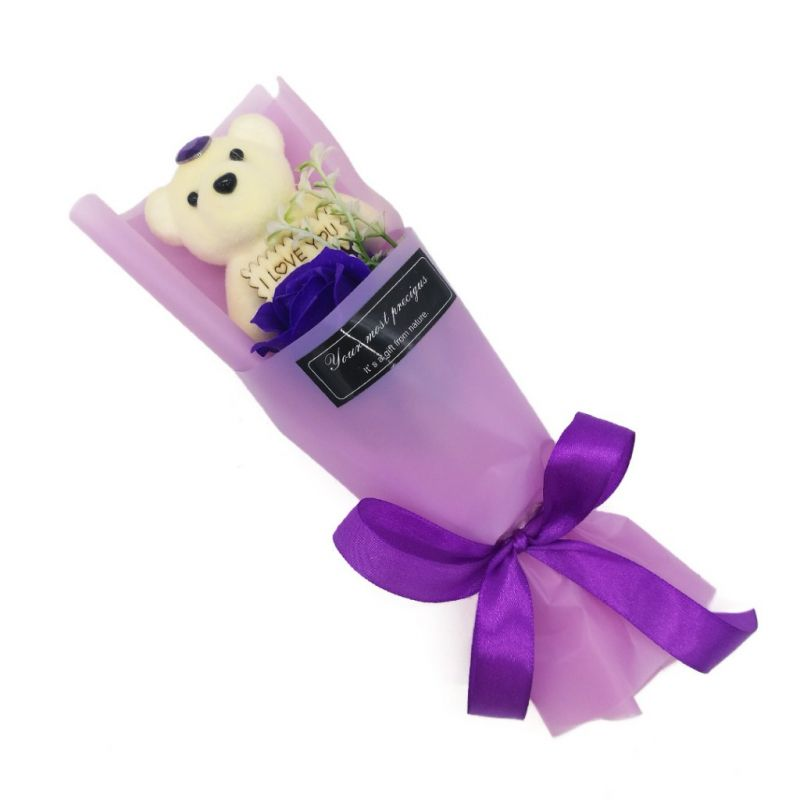 Мыльная роза с мишкой в упаковке (цвет фиолетовый)