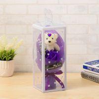 Мыльная роза с мишкой в упаковке (цвет фиолетовый)_2