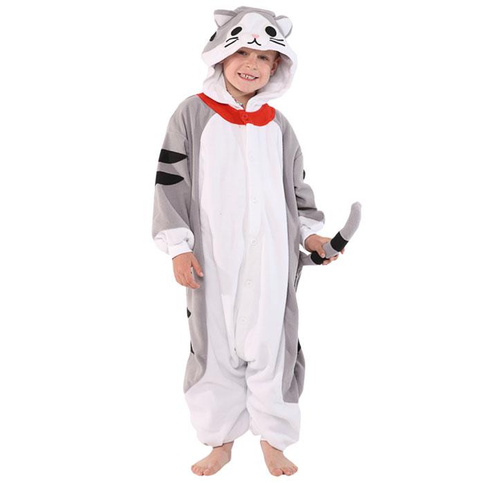 Пижама Кигуруми Детская Кот Серый_01