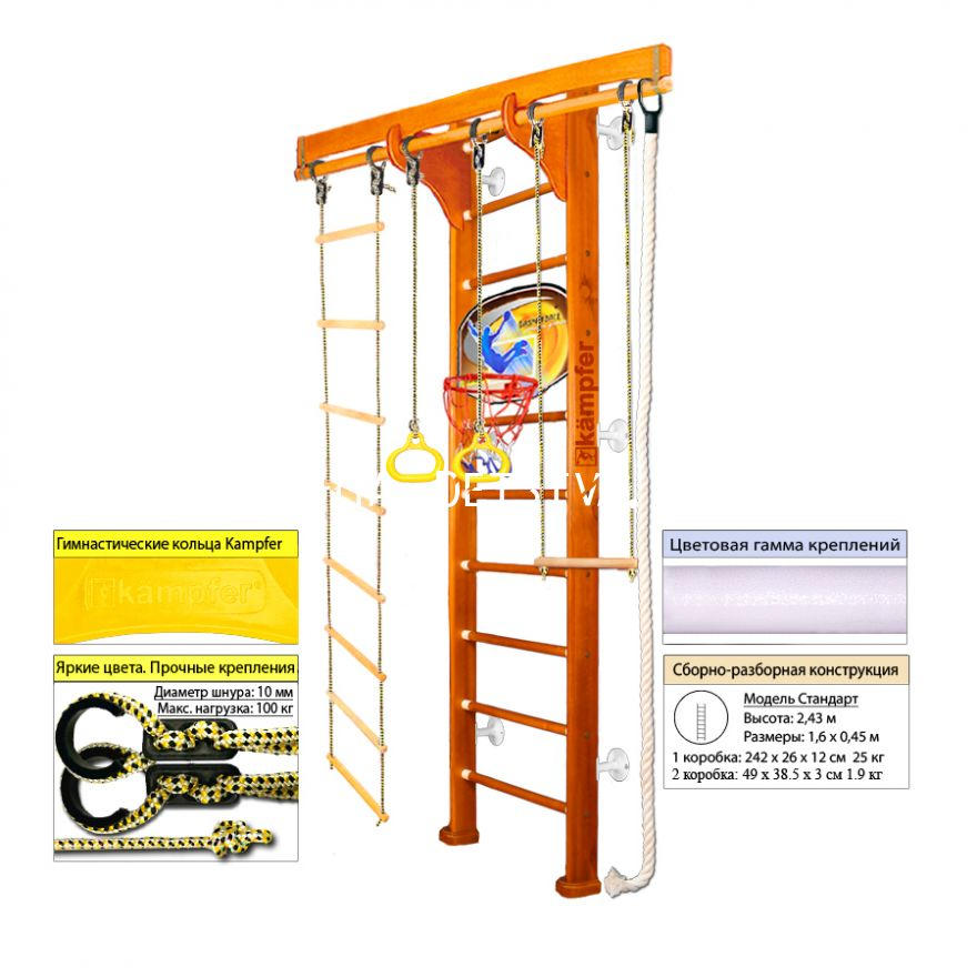 ДСК Kampfer Wooden Ladder Wall Basketball Shield