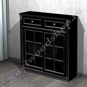 """Книжный шкаф """"Лондон СИТИ- 2 черный с серебром"""""""