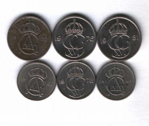Набор монет Швеция 1964-1981 г. 6 шт.