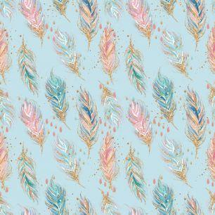 Лимитированная коллекция Арт-ткани Хлопок Сатин Перья на голубом