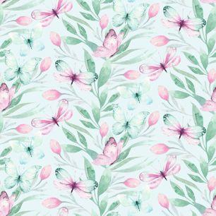 Лимитированная коллекция Арт-ткани Хлопок Сатин Сиреневые бабочки
