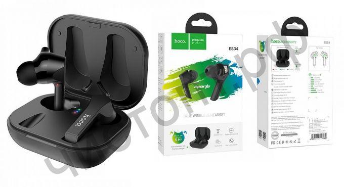 Bluetooth гарнитура стерео HOCO ES34, Pleasure, BT 5.0 , заряд. от футляр за 1,5 ч, работа до 5 ч. , чёрный