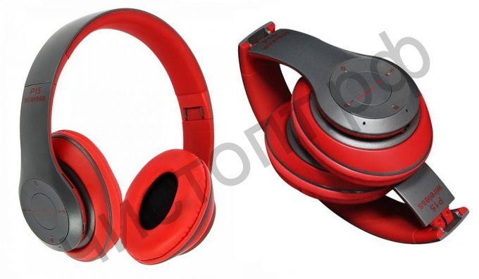 Bluetooth гарнитура стерео OT-ERB41 (OT-P15) Красный (bluetooth,FM,TF ,аккум ) складные