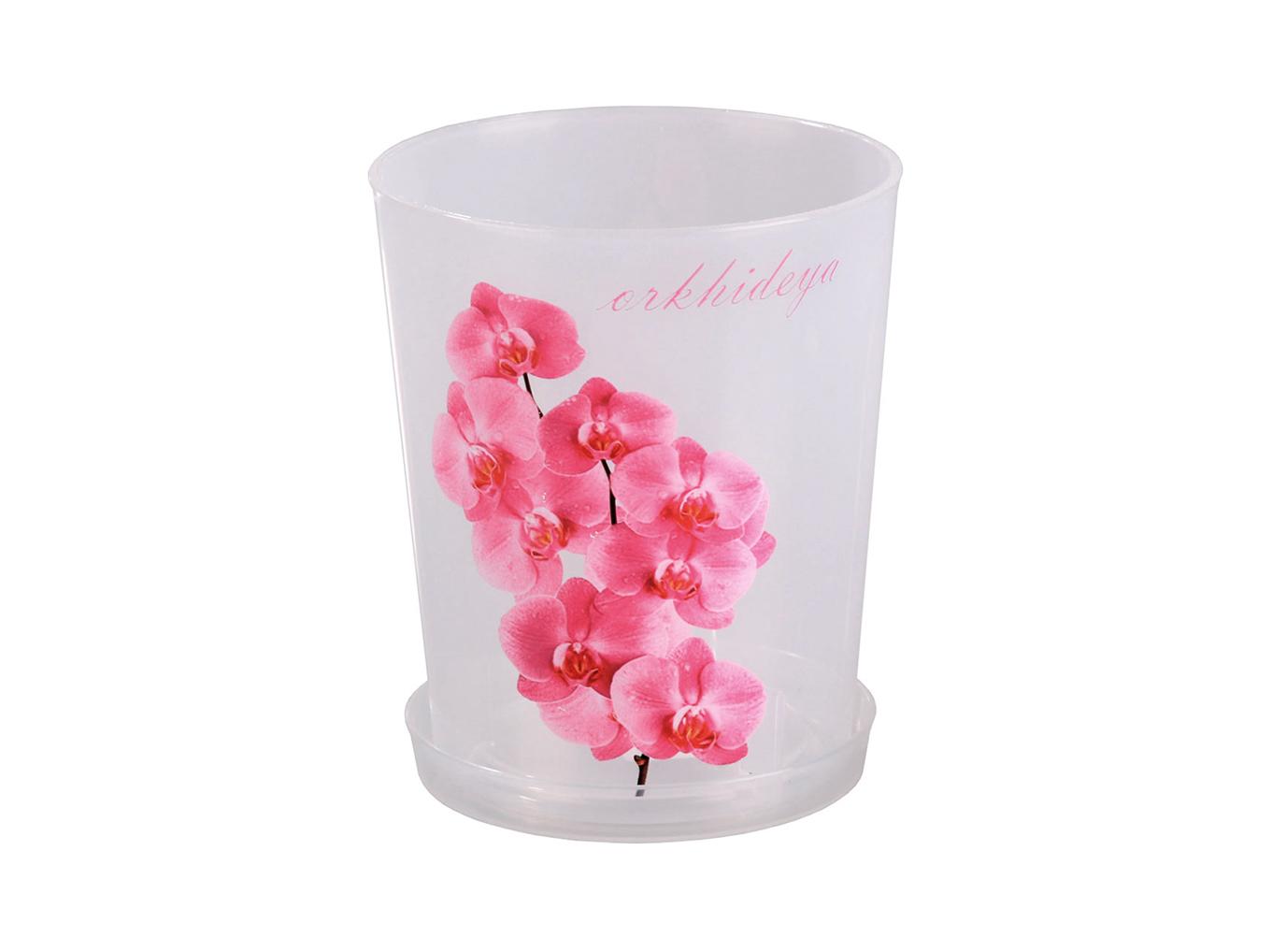 Горшок цветочный для орхидеи 1,2 л. с под. (прозр) М1603