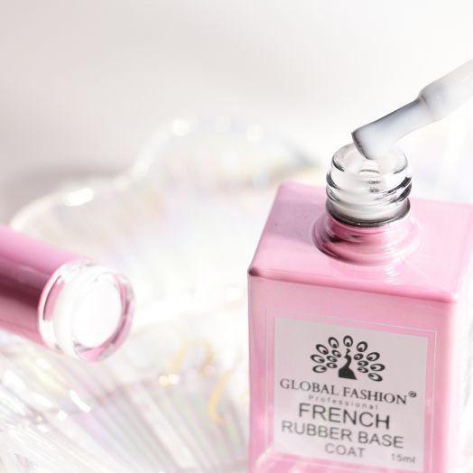 База камуфляж каучуковая для гель лака френч, French Rubber Base Coat , 15 мл., Global Fashion БЕЛЫЙ SOFT WHITE розовый флакон