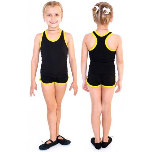 Шорты гимнастические с окантовкой INDIGO SM-343 черно-желтые