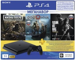 Sony PlayStation 4 Slim 1TB (CUH-2208B) + Жизнь после + God of War + Одни из нас + PS Plus 3 месяца