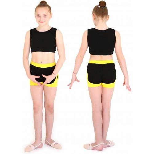 Шорты гимнаст. двойные с окантовкой INDIGO SM-346 черно-желтые
