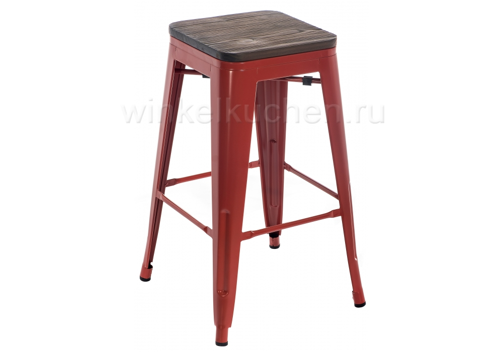 Барный стул Tolix Bar wood CColl T-2103B-26 red / brown walnut