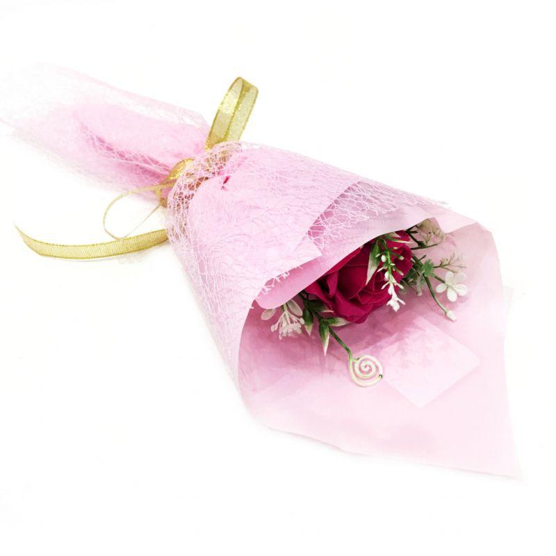 Букет Из Парфюмированного Мыла В Бумажной Упаковке, 40 См, Цвет Фуксия