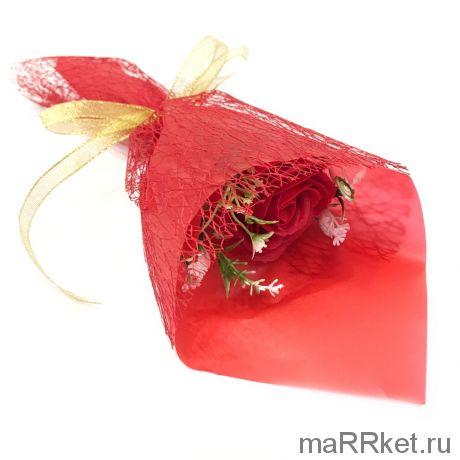 Букет из парфюмированного мыла в бумажной упаковке, 40 см (красный)