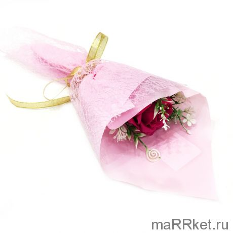 Букет из парфюмированного мыла в бумажной упаковке, 40 см (фуксия)