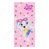 """Детское махровое полотенце """"Миледи. 44 котёнка"""" рис.1143-02 розовое"""