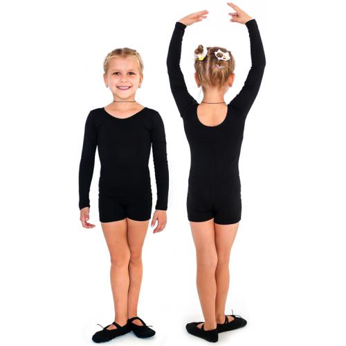 Комбинезон гимнастический длинный рукав INDIGO SM-193 черный