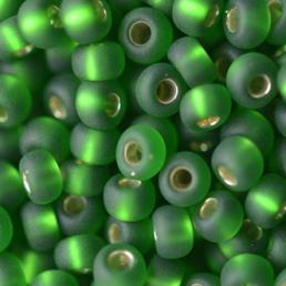 Бисер чешский 57120 прозрачный темно-зеленый матовый серебряная линия внутри Preciosa 1 сорт