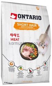 Ontario для короткошерстных кошек с курицей и уткой