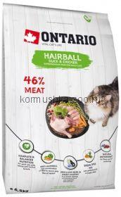 Ontario для вывода шерсти у кошек с уткой и курицей