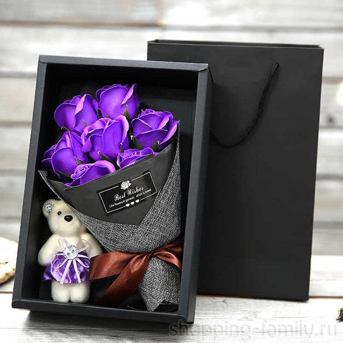 Набор из 7 мыльных роз в коробке с мишкой, Цвет Фиолетовый