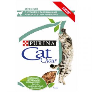 """Purina Cat Chow паучи для стерилизованных кошек """"Кусочки в соусе с курицей и баклажанами"""" 85гр"""