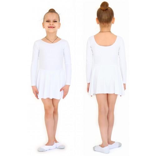 Купальник гимнастический с юбкой бифлекс INDIGO SM-336 белый