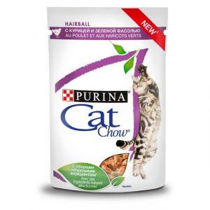 """Purina Cat Chow паучи для кошек для профилактики образования комков шерсти кошек """"Кусочки в соусе с курицей и зеленой фасолью"""" 85гр"""