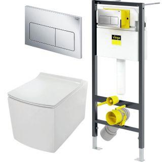 Система инсталляции VIEGA Prevista 792824 с подвесным безободковым унитазом Dry JAQUAR