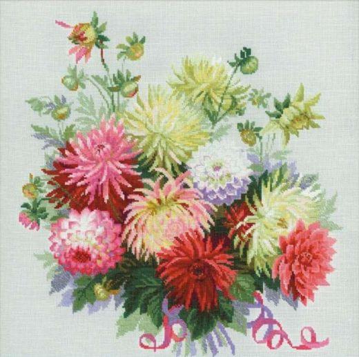 Набор для вышивания крестом Георгины №1384 фирма Риолис