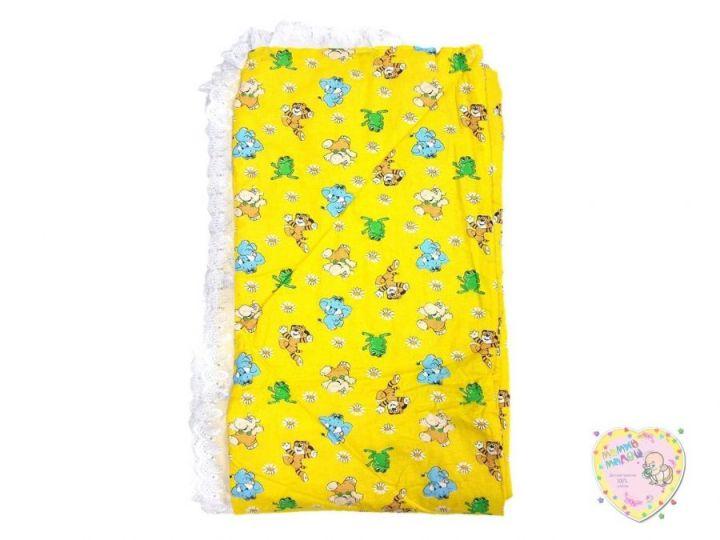 Бортики детские в кроватку цельные 360х45 (желтый со зверюшками)