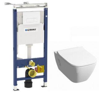 Комплект инсталляция и унитаз безободковый подвесной GEBERIT Duofix KERAMAG 458.125.11.1-20557