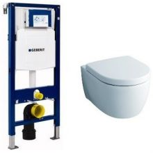 Комплект инсталляция и унитаз безободковый подвесной GEBERIT Duofix KERAMAG 111.300.00.5-20406