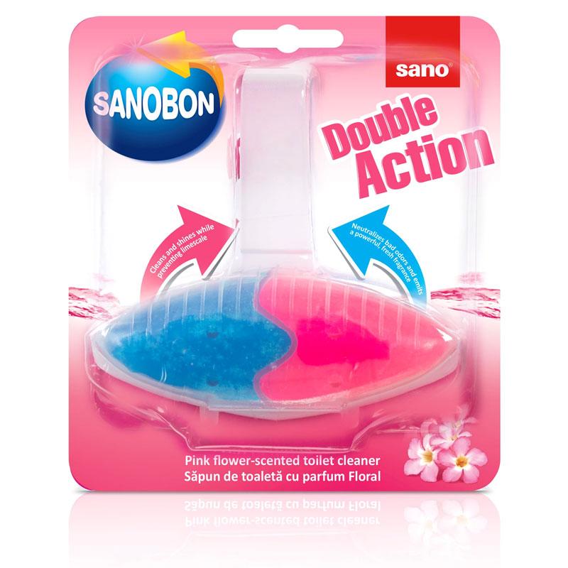 Подвеска для унитаза двойного действия Розовый цветок Sanobon Double Action Pink Flower Sano 55 г