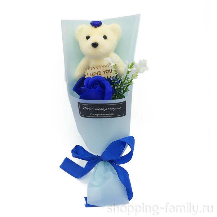 Мыльная роза с мишкой в упаковке, цвет Синий