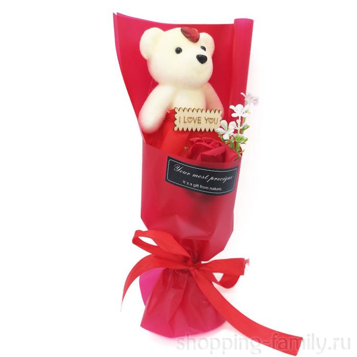 Мыльная роза с мишкой в упаковке, цвет Красный