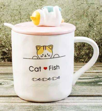 Кружка Котик с рыбкой 3