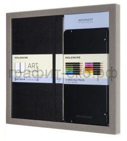 Набор Moleskine Art Collection блокнот для рисования Large нелинованный черный+акварельные карандаши