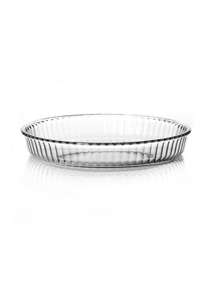 Круглая форма для запекания 2,95 литра прозрачная Borcam 59014 жаропрочная стеклянная форма для СВЧ 32x4,5 см