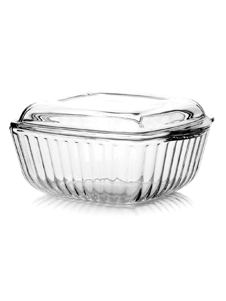 Кастрюля жаропрочная стеклянная 1,8 литра квадратная с крышкой Borcam 59029 квадратная форма с крышкой 23х19х11 см