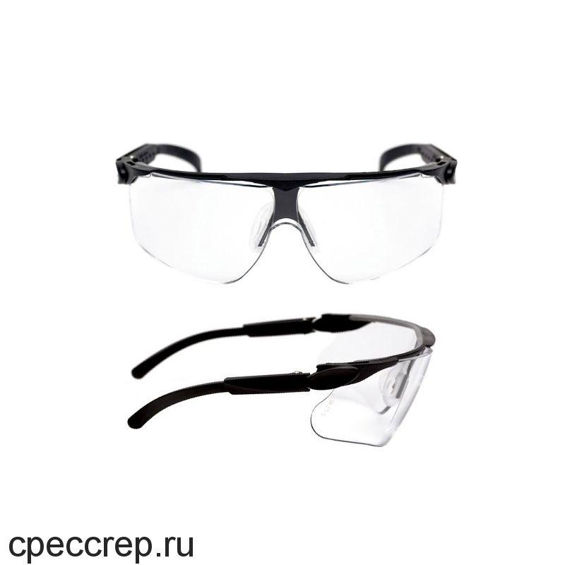 Очки поликарбонатные, цвет линз - прозрачный. Асферическая линза - 180° защита. Покрытие DX. 100% УФ защита. Специальный дизайн для совместимости с каской и/или наушниками