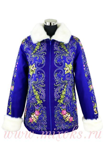 Куртка из платков синяя