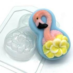 """Форма пластиковая для мыла и шоколада """" Фламинго с цветами"""""""