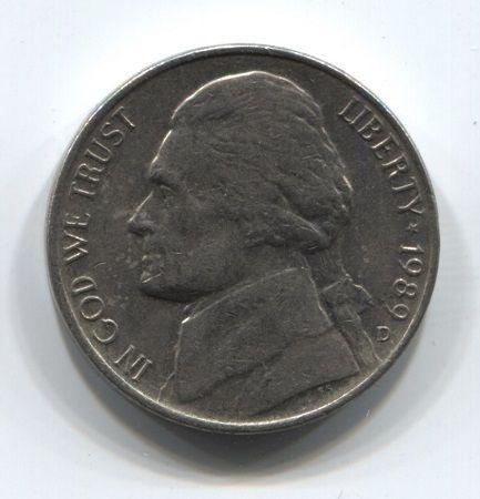 5 центов 1989 года D США