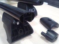 Багажник на рейлинги, Евродеталь, аэродинамические дуги, черный цвет
