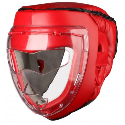 Шлем боксерский с защитной маской INDIGO PS-832 красный